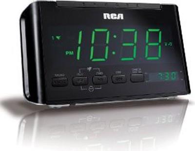 RC40 AM/FM Alarm Clock Radio with Large Green LED Display (Black)