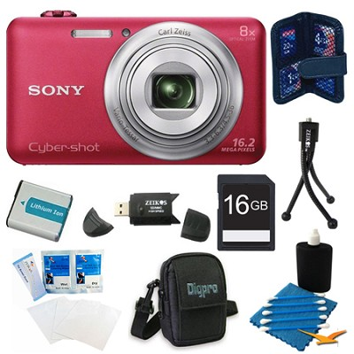 DSC-WX80 16 MP 2.7-Inch LCD Digital Camera Red Kit