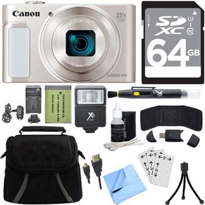 PowerShot SX620 HS 20.2MP Digital Camera Silver w/ 25x Optical Zoom 64GB Bundle