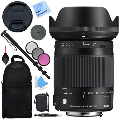 18-300mm F3.5-6.3 DC Macro OS HSM Lens (Contemporary) Nikon DX Cameras Bundle