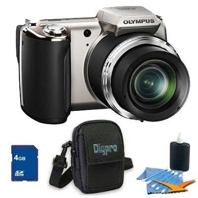 4GB Kit SP-620UZ 16 MP 3-inch LCD Black Digital Camera - Silver