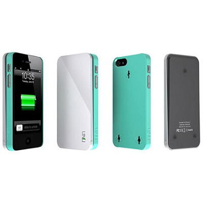Ecopak iPhone 5 Case -Snap-on Case and Detachable Battery (White/Blue)