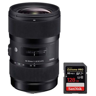 AF 18-35MM F/1.8 DC HSM ART Lens for Sony SLR with 128GB Memory Card