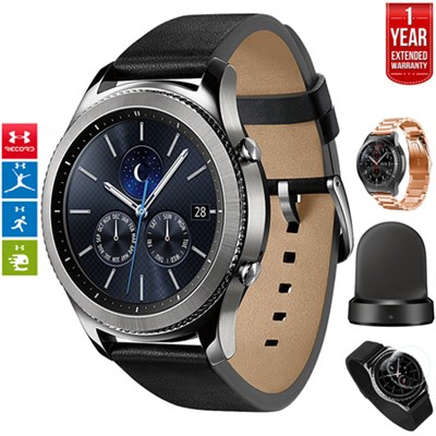 Gear S3 Classic Bluetooth GPS Watch Silver + Charger Bundle + Extended Warranty