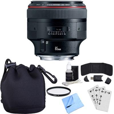 EF 85mm F/1.2L II USM Telephoto Lens w/ Essential Photography Accessory Bundle