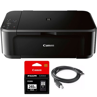 Wireless Inkjet Multifunction Printer w/ Genuine Canon Ink + Printer Cable
