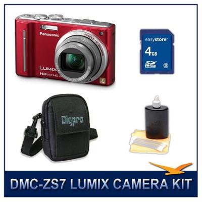 DMC-ZS7R LUMIX 12.1 MP Digital Camera (Red), 4GB SD Card, and Camera Case