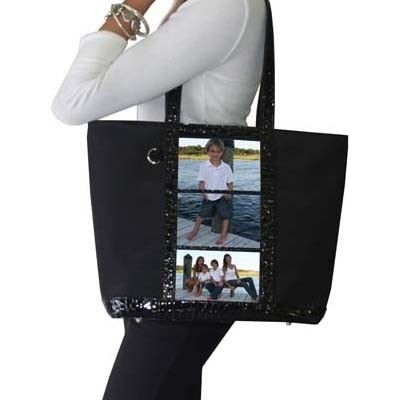 Micro and Wet Croco Collection - 3 Window Large Tote - Black