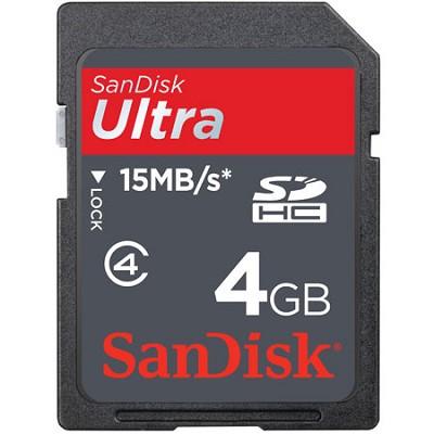4 GB Ultra Secure Digital { SDHC } Memory Card 15MB/S SDSDRH004GA11