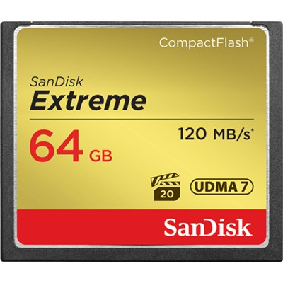 Extreme CompactFlash 64GB Memory Card, UDMA 7, Up to 120 MB/s Read Speed