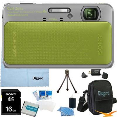 Cyber-shot DSC-TX20 16.2 MP Waterproof Shockproof Camera (Green) 16GB Bundle