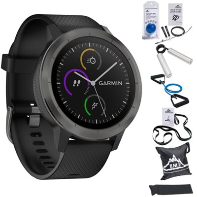 Vivoactive 3 GPS Fitness Smartwatch (Black) w/ 7 Pcs Workout Bundle