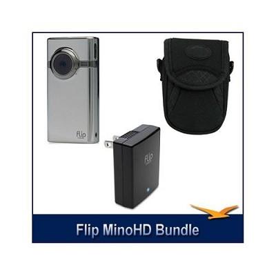MinoHD 8GB Camcorder (Brushed Metal) + Bonus Case & Flip Video AC Power Adapter