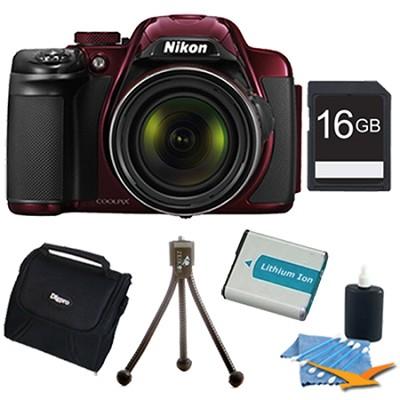 COOLPIX P520 18.1 MP 42x Zoom Digital Camera - Red Plus 16GB Memory Kit