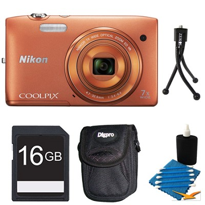 COOLPIX S3500 Orange Digital Camera 16GB Bundle