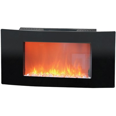 35  Callisto Curved Wall Mount Electronic Fireplace with Crystal Rocks