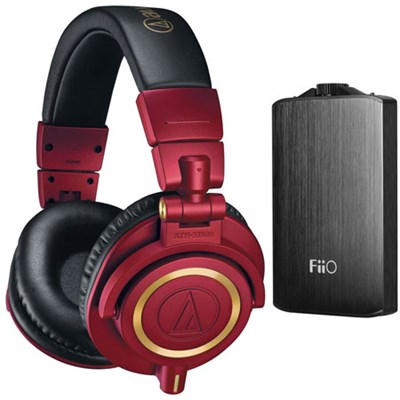 ATH-M50xRD Pro Studio Monitor Headphones (Red Limited Edition) Amp Bundle