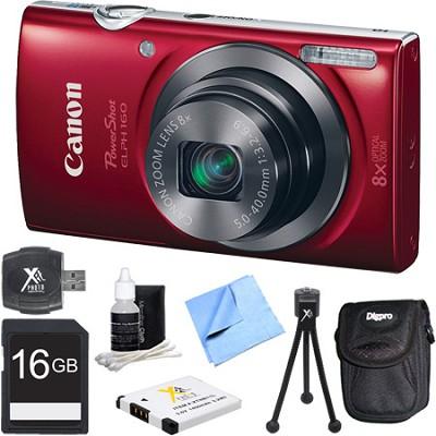 PowerShot ELPH 160 20MP 8x Opt Zoom HD Digital Camera - Red 16GB Bundle