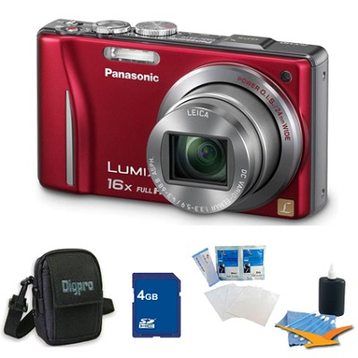 Lumix DMC-ZS10 14.1 MP Camera 16x Zoom Optical I.S. Lens w GPS Red 4 GB Bundle