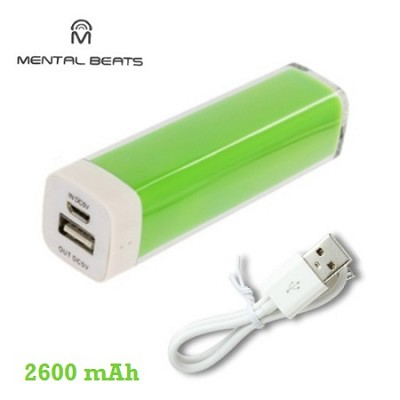2600mAh Battery Bank Charger with Micro-USB Charging Cable - Green