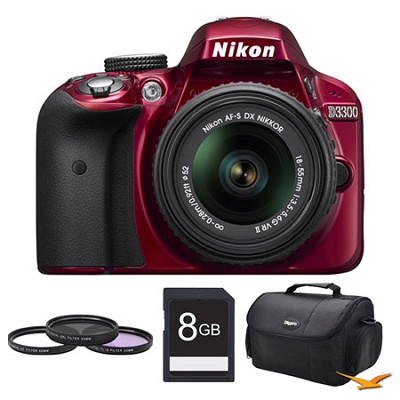 D3300 DSLR HD Red Camera with 18-55mm Lens, 8GB Card, and Case Bundle