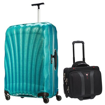 28` Black Label Cosmolite Spinner (Emerald Green) + Wenger Laptop Boarding Bag