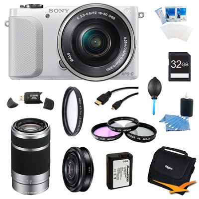 NEX-3NL White Digital Camera 16-50mm Lens 55-210mm, 20mm f/2.8  Lens Bundle