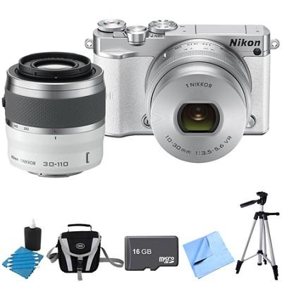 1 J5 Digital Camera w/ NIKKOR 10-30mm Zoom & NIKKOR 30-110mm Lens White Bundle