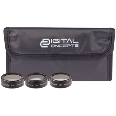 DJI 3 Pieces Lens Filter Kit for DJI Phantom 4 Pro CPL+ND4+ND8 w/ Pouch