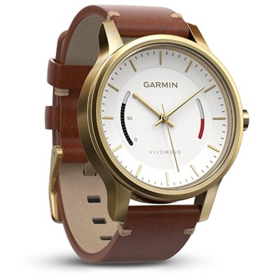 Vivomove Premium Activity Tracker - Gold-Tone Steel with Leather Band