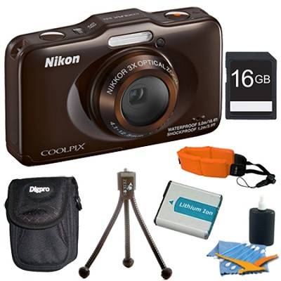 COOLPIX S31 10.1MP 720p HD Video Waterproof Digital Camera - Brown Plus 16GB Kit