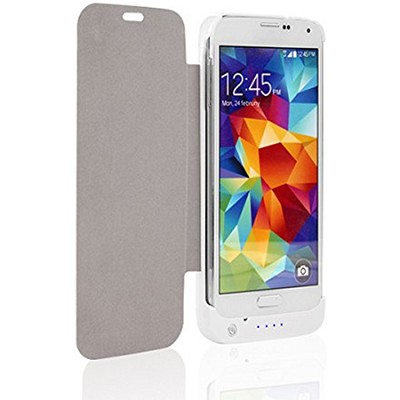 3200mA Battery Power Case Flip Style for Samsung Galaxy S5 - White - 12885