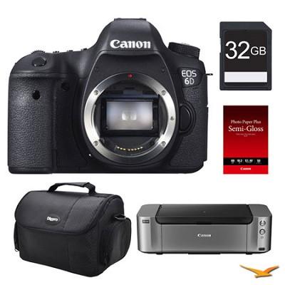 EOS 6D DSLR Camera (Body Only), 32GB, Printer Bundle - $400 Mail-In Rebate