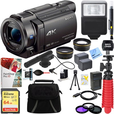 FDR-AX33/B - 4K Camcorder with Mini Zoom Microphone + 64GB Accessory Bundle