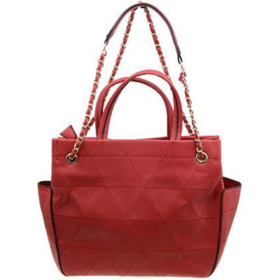 Quilted Coco Tote with Chain Handle and Detail Zipper in Red