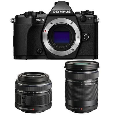 OM-D E-M5 Mark II Black Digital Camera with 14-42mm and 40-150mm Lens Bundle