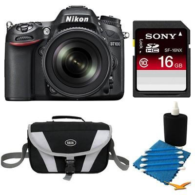 D7100 DX-Format Digital HD-SLR with 18-105mm Lens 16GB Bundle