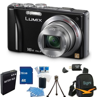 Lumix DMC-ZS10 14.1 MP Camera 16x Zoom Optical I.S. Lens w GPS Black 16GB Bundle