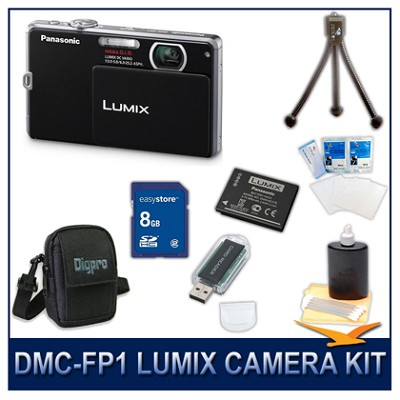 DMC-FP1K LUMIX 12.1 MP Digital Camera (Black), 8G SD Card, Card Reader & Case