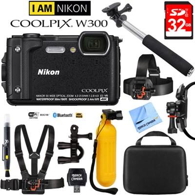 COOLPIX W300 16MP 4k Ultra HD Digital Camera Black with 32GB Card Bundle
