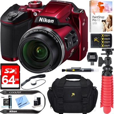 COOLPIX B500 16MP 40x Optical Zoom Wi-Fi Digital Camera (Red) + 64GB Bundle