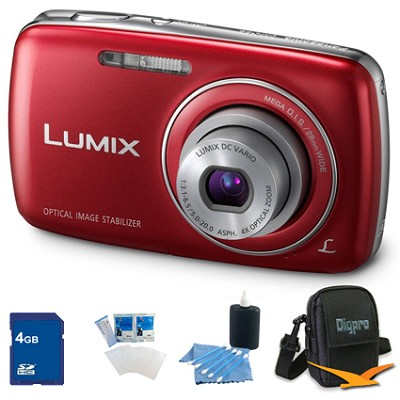 Lumix DMC-S3 14MP Compact Red Digital Camera w/ 720p HD Video 4GB Bundle
