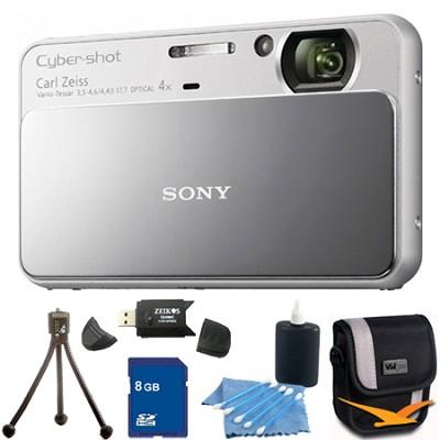 Cyber-shot DSC-T110 Silver Touchscreen Digital Camera 8GB Bundle