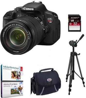 EOS Rebel T4i 18MP SLR Camera 18-135mm STM Lens Bundle Deal