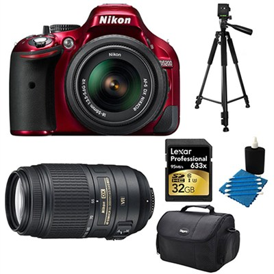 D5200 DX-Format Red 32 GB SLR Camera with 18-55mm and 55-300mm VR Lens Bundle