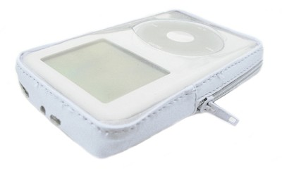 Protective Cover w/ zippered (white) leather trim for iPod 20GB (TZIP-W)
