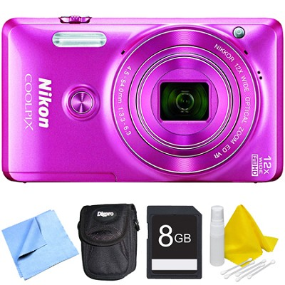 COOLPIX S6900 16MP Full HD 1080p Digital Camera - Pink Bundle