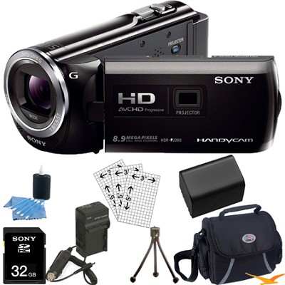 HDR-PJ380/B 16GB Full HD Camcorder with Projector Ultimate Bundle