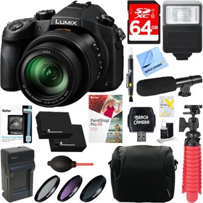 LUMIX FZ1000 Long Zoom Black Digital Camera + Dual Battery & Accessory Kit