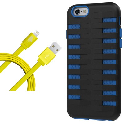 Cobra Apple iPhone 6 Silicone Dual Protective Case - Black/Blue Starter Bundle